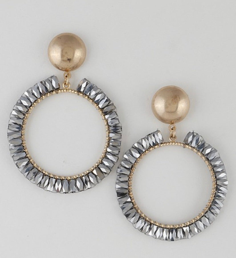 Gunmetal Circle Earrings