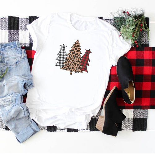 Leopard and Buffalo Plaid Graphic Tee