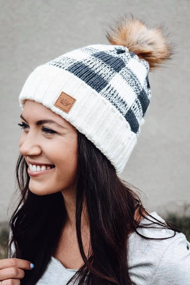 White & Charcoal Buffalo Plaid Hat