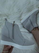 Load image into Gallery viewer, Gray Zoey Wedge Sneakers