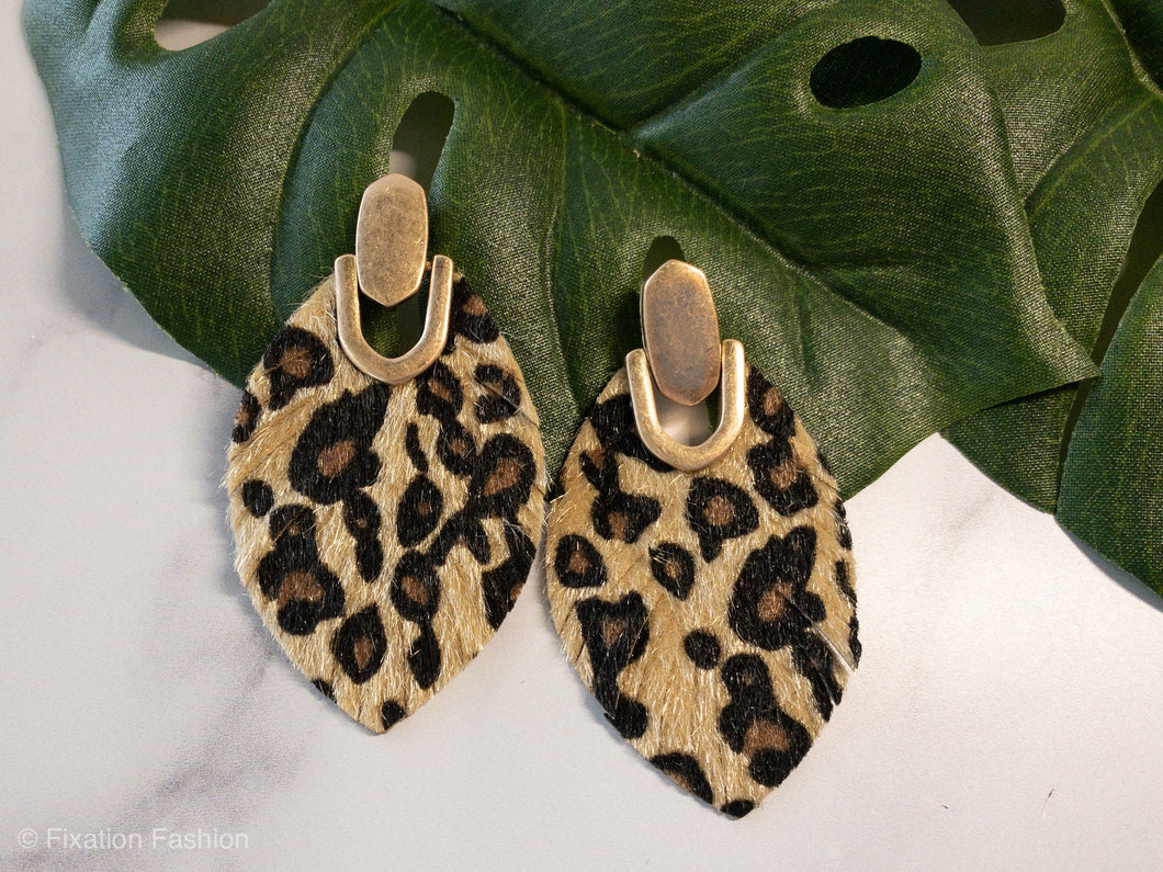 Leopard and Gold Earrings