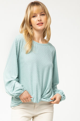 Mint Polka Dot Long Sleeve Shirt