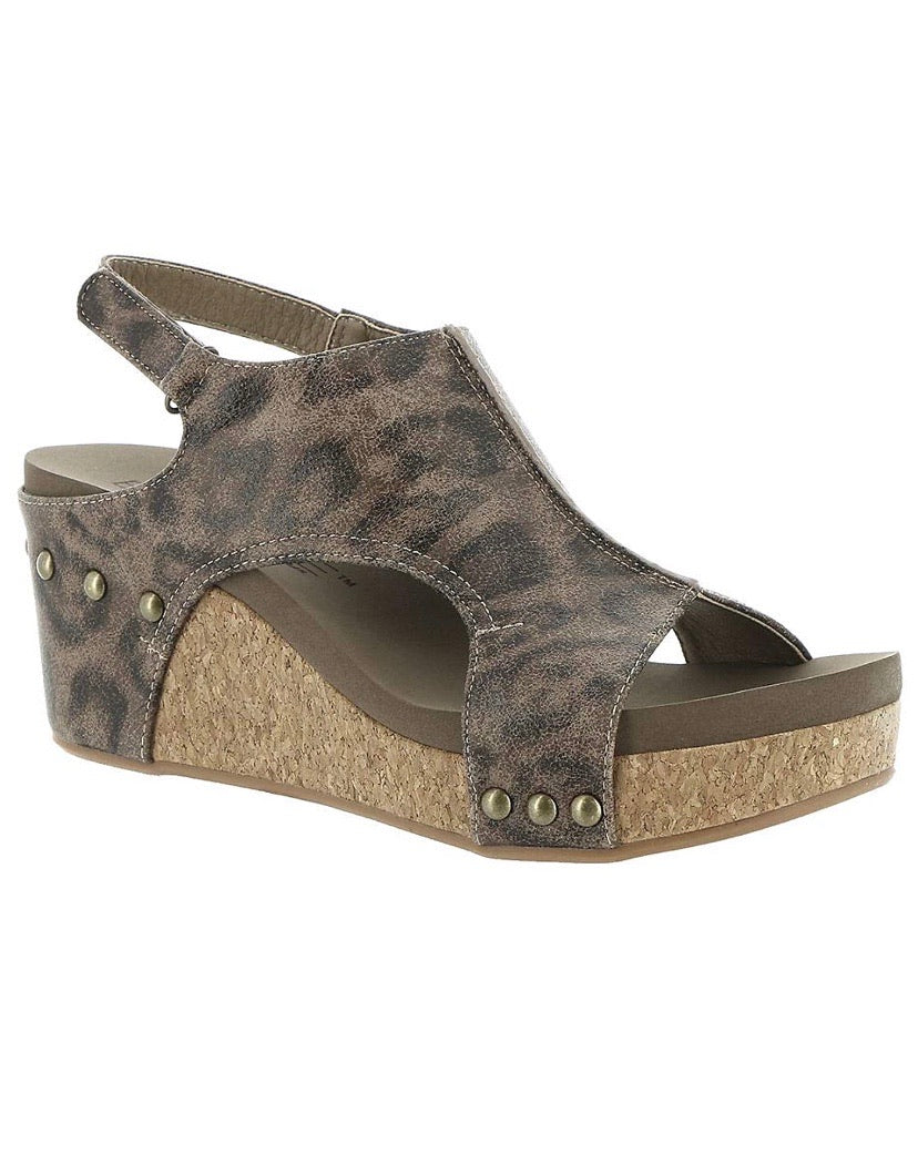 Corkys Carley Distressed Leopard Wedge