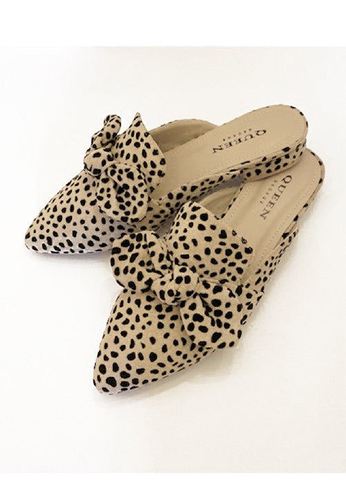 Cheetah Bow Mules