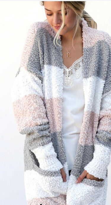 Pink, Gray and White Popcorn Cardigan