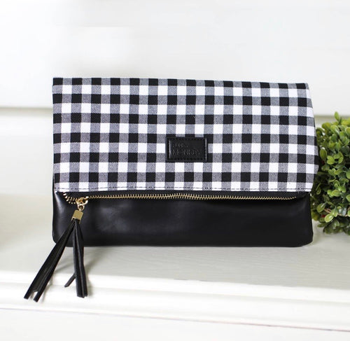 White & Black Buffalo Plaid Clutch