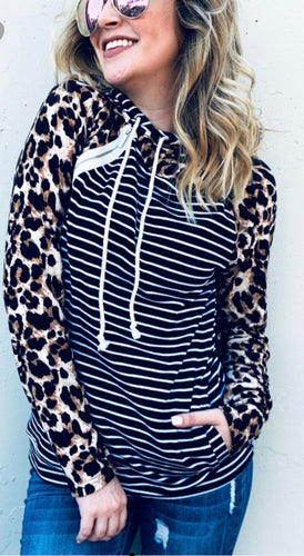 Leopard and Black Striped Hoodie