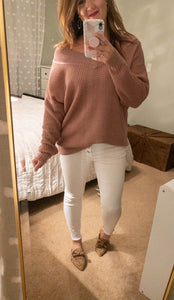Lover Waffle Knit V-Neck Sweater
