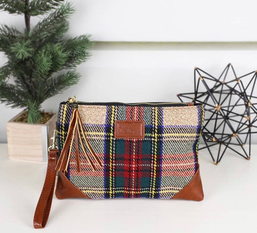 Red, Green & Beige Wristlet