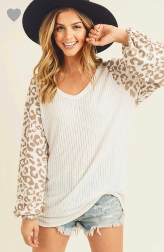 Winter White Bell Sleeve Leopard Shirt