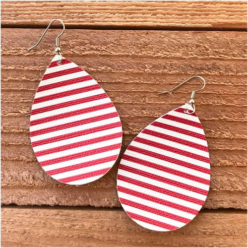 Red and White Stripe Leather Earrings