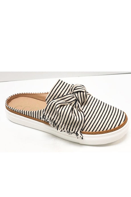 Black Striped Bow Slip On Sneakers