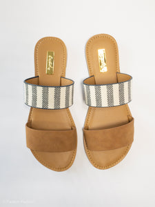 Women's Camel and Striped Flat Sandal