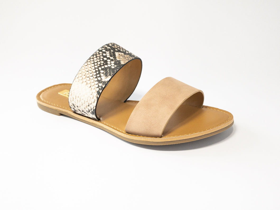 Women's Blush and Snakeskin Flat Sandal