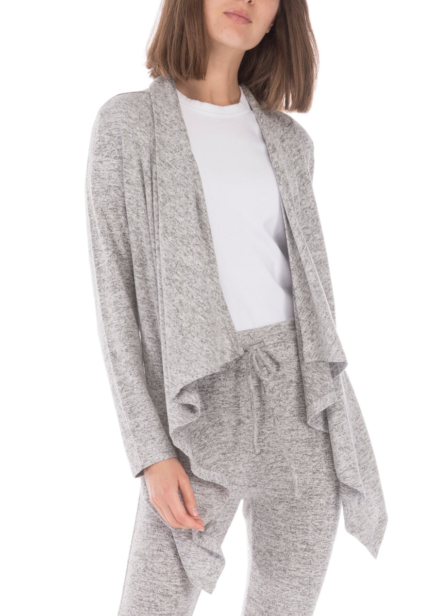 heather grey waterfall open cozy cardigan. asymmetrical hem