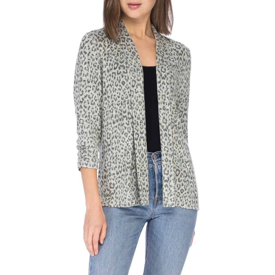 Kelsey Cinched Sleeve Open Cardigan in Leopard Print