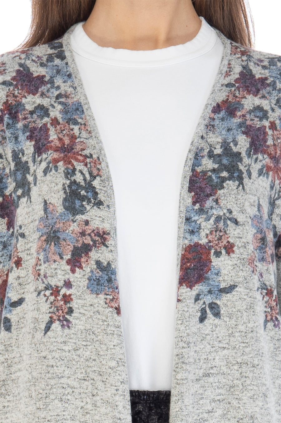 Jean Faded Floral Long Sleeve Cardigan