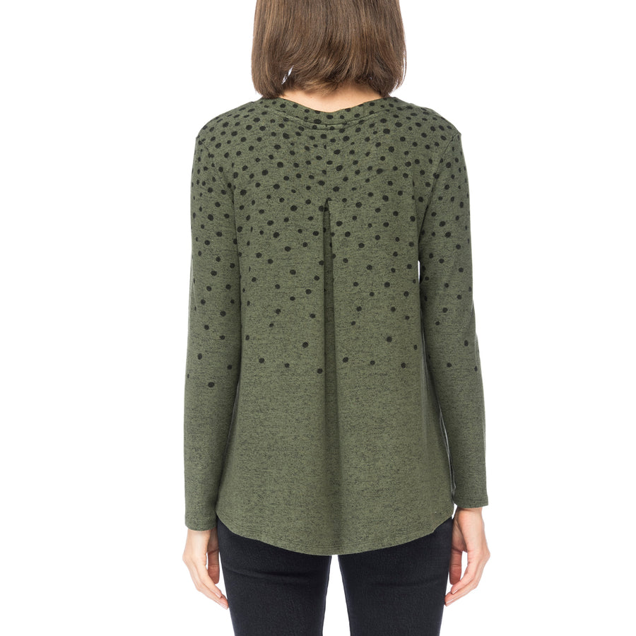 Lisa V-Neck Cozy Top in Faded Dot