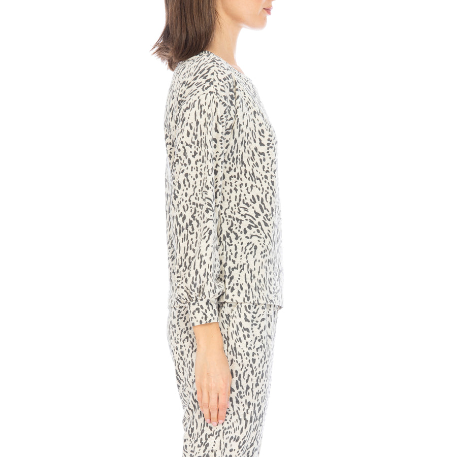 Emmanuel Oatmeal Leopard French Terry Top