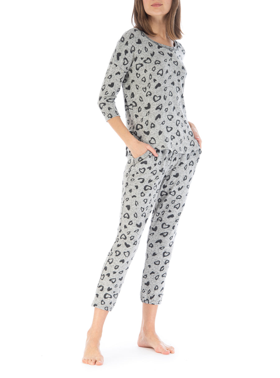 Juliet Heart Print Cozy Jogger