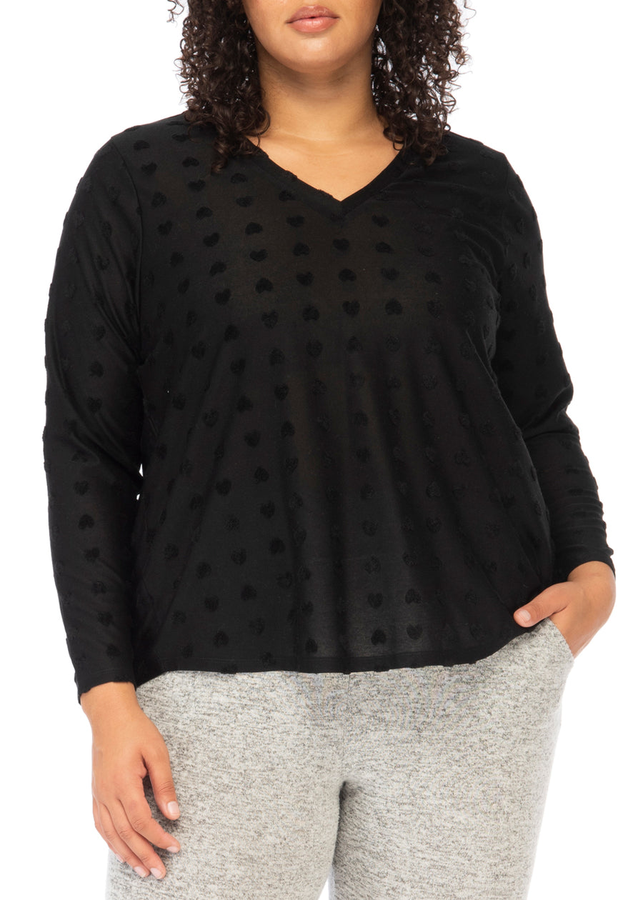 Savannah Plus V-Neck Jacquard Heart Top