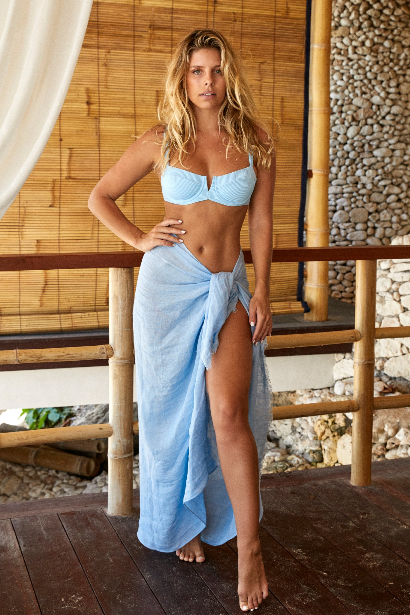 Load image into Gallery viewer, Amalfi Sarong - Sky Blue