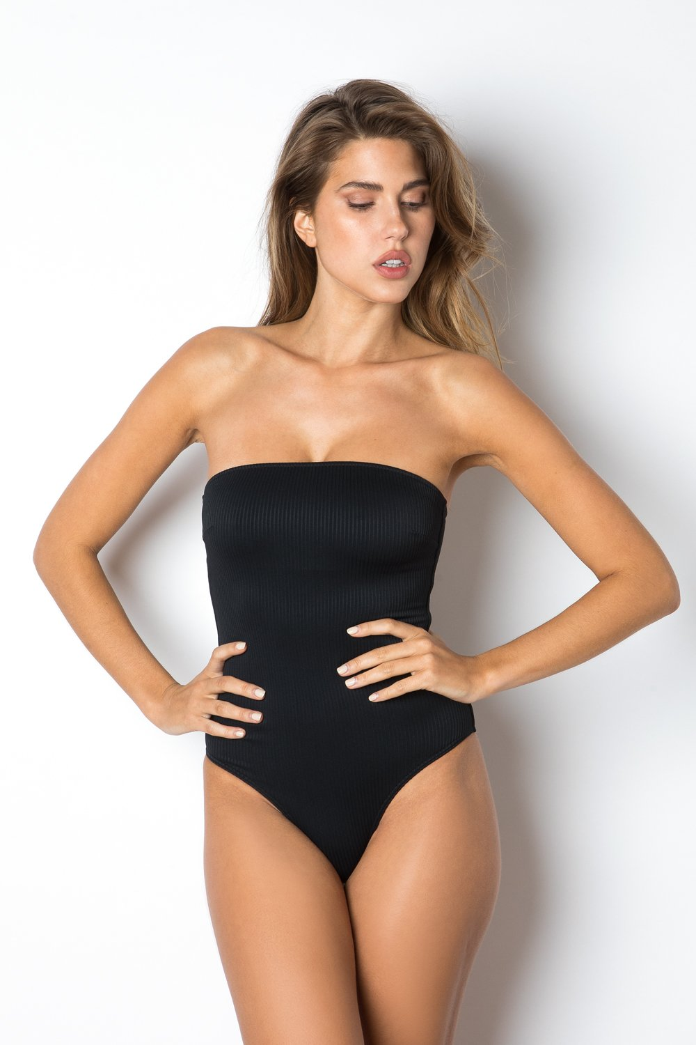 Santorini One Piece - Black Rib
