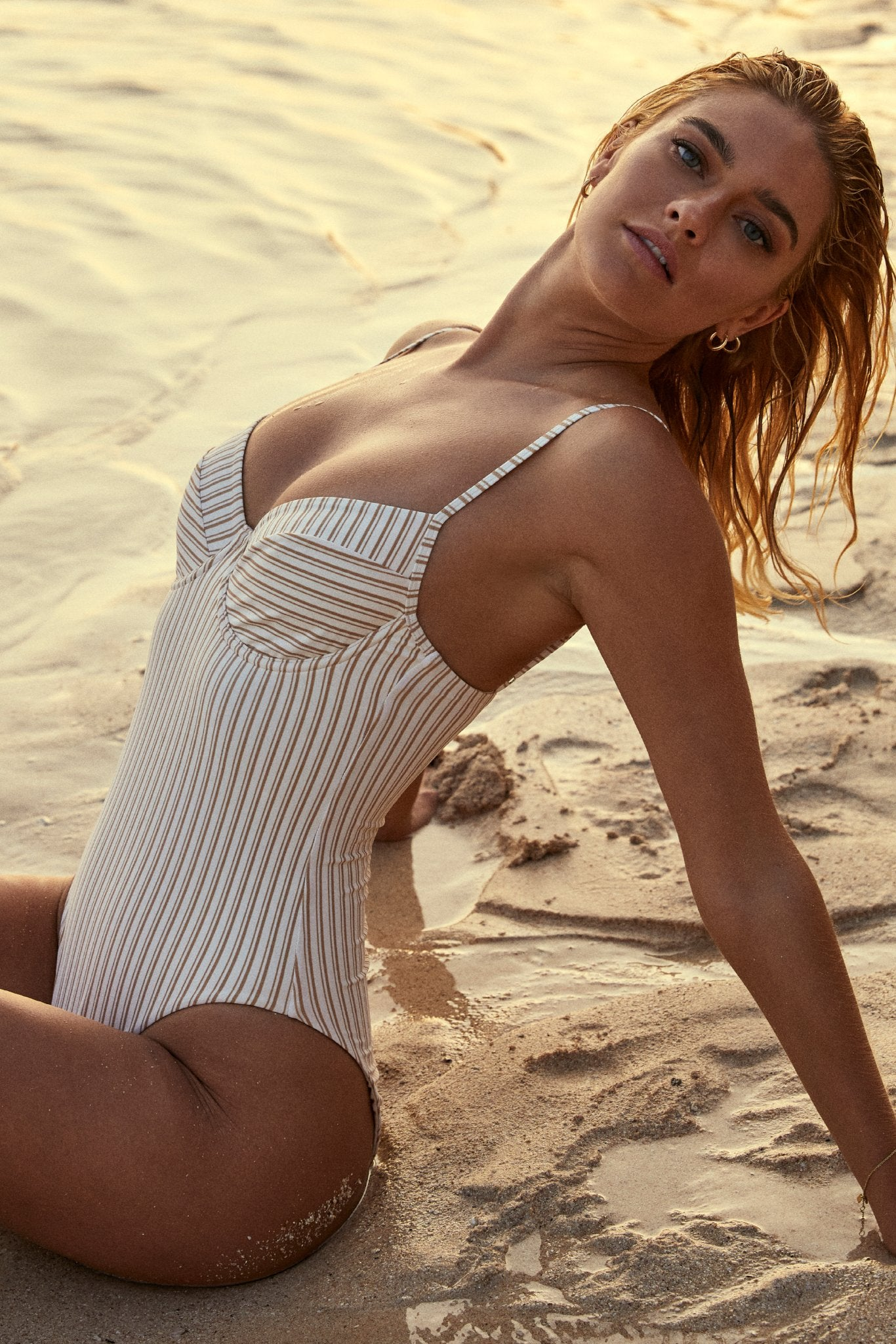Maui One Piece - Sand Stripe