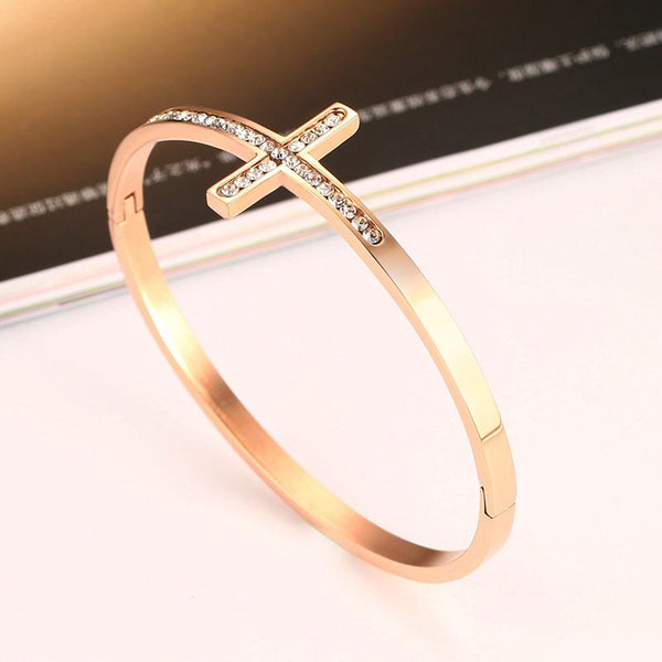 Limited Edition Rose Gold Cross Bracelet | Christian Cross Jewelry - Kingdom Christian Clothing Store
