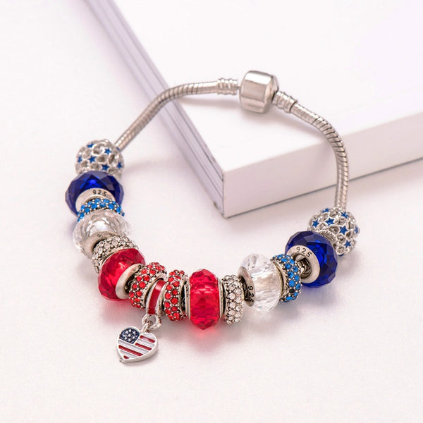 Patriotic Heart Shaped Charm Bracelet | Usa Jewelry | Flag Jewelry - Kingdom Christian Clothing Store