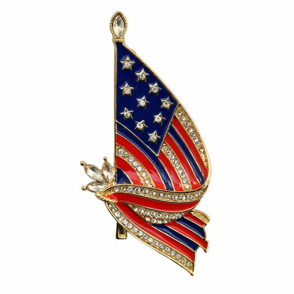 Beautiful American Flag Brooch | American Flag Pin | USA Patriotic Jewelry - Kingdom Christian Clothing Store