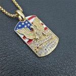 Beautiful American Flag-Eagle Tag Pendant | Military Necklace Patriotic USA Jewelry - Kingdom Christian Clothing Store