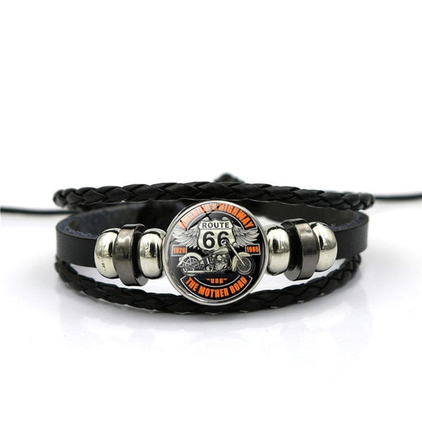 Route 66 Black Leather Bracelet | Usa Patriotic Bracelet - Kingdom Christian Clothing Store