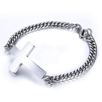 Men's Sideways Cross Bracelet | Stainless Steel Christian Bracelet - Kingdom Christian Clothing Store