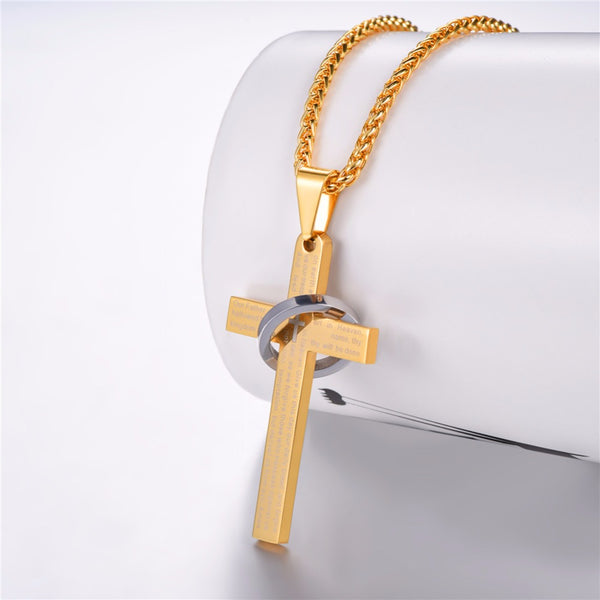 Cross Necklace With Lords Prayer |  Christian Jewelry | Christian Necklace - Kingdom Christian Clothing Store