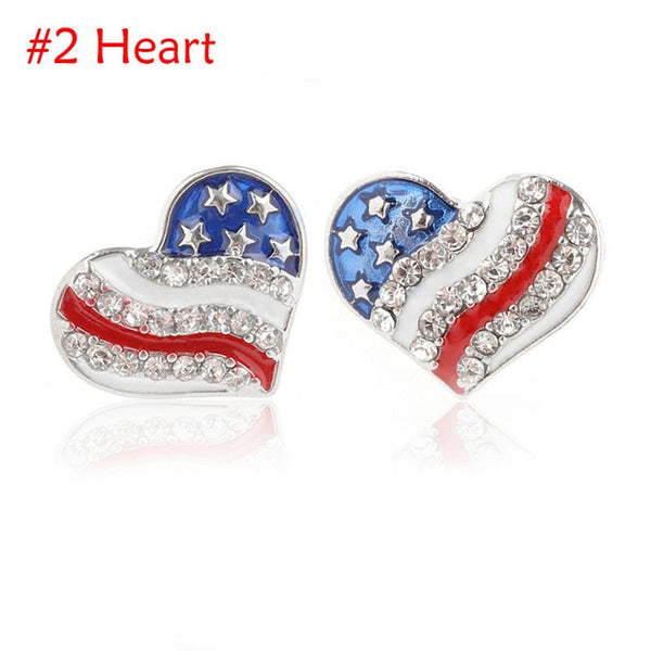 Patriotic Jewelry | Star And Heart Earrings | Women's Usa Earrings - Kingdom Christian Clothing Store