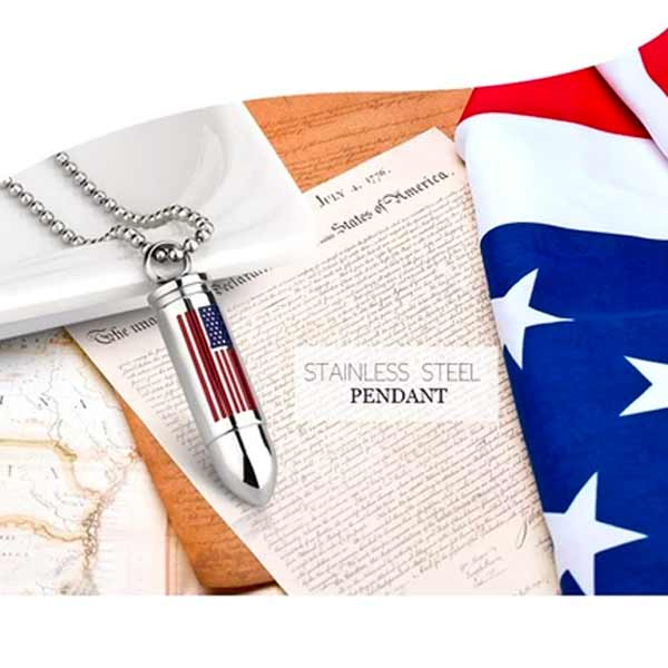 American Flag Bullet Necklace - Cremation Necklace