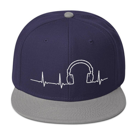 Headphone Heartbeat Snapback Hat