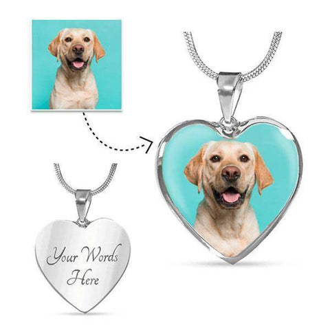Custom Picture Heart Necklace With Engraving
