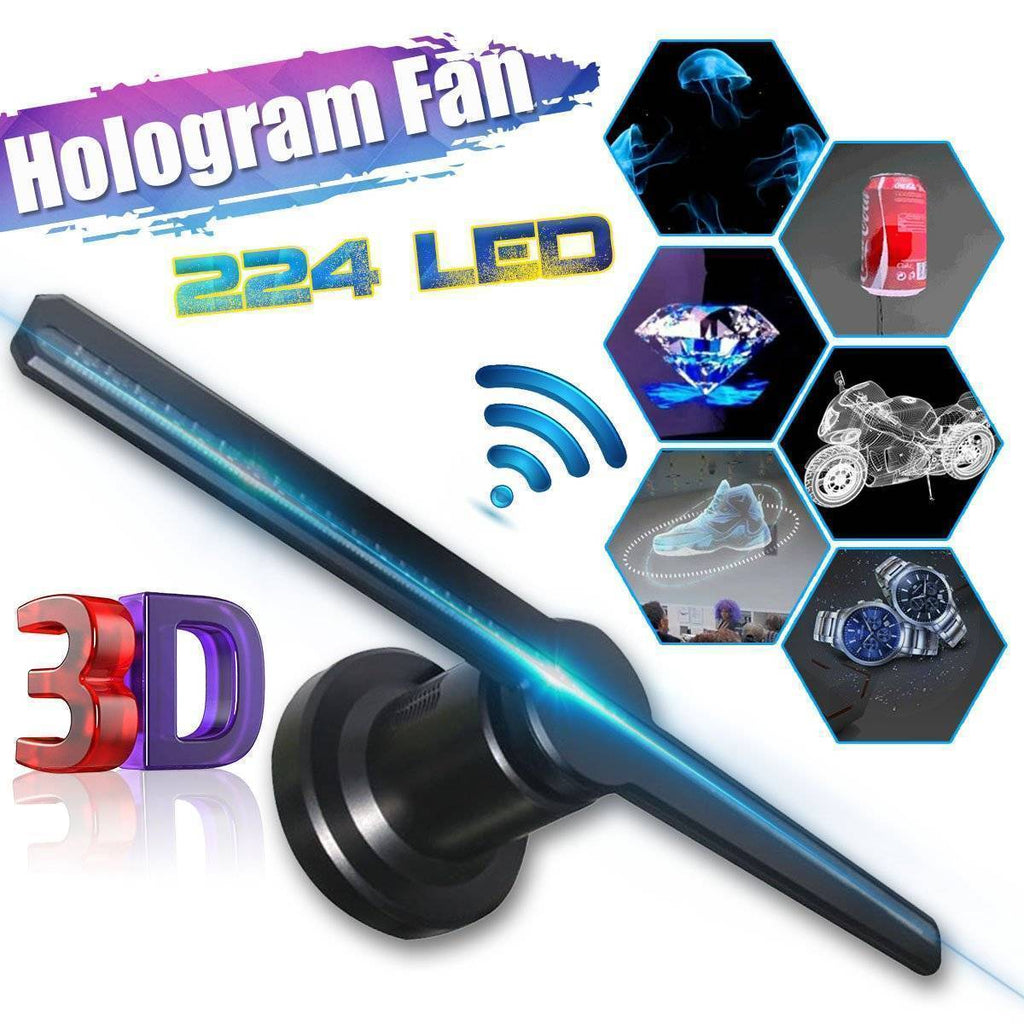 Wifi 3D Hologram Projector Fan with 16G TF Holographic Display 224 LEDs Party Decorations Holograms Led 42cm Store Signs Funny
