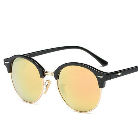 Round Retro Rivet Frame Sunglasses