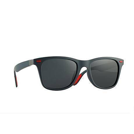 Polarized Retro Square Rivet Framed Sunglasses
