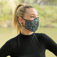 Mascarillas adultos negro con estampados floralesliberty
