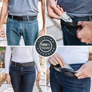 Travel Security Belt with Hidden Money Pocket - Cashsafe Anti-Theft Wallet