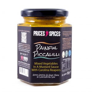 X PRICES SPICES Painful Piccalilli, Mixed Vegetables in a Mustard Sauce with Carolina Reaper Chillies 190G