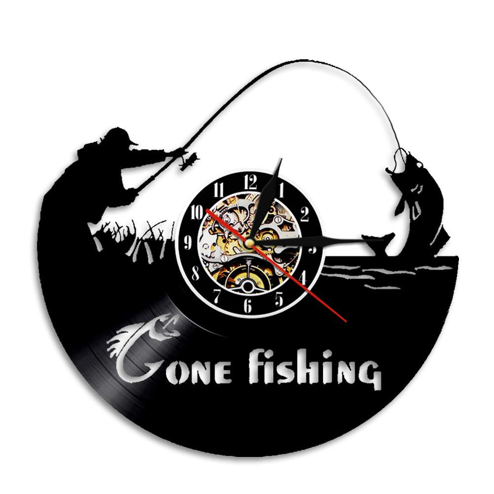 OutdoorCapitol™ Premium Gone Fishing  Wall Clock