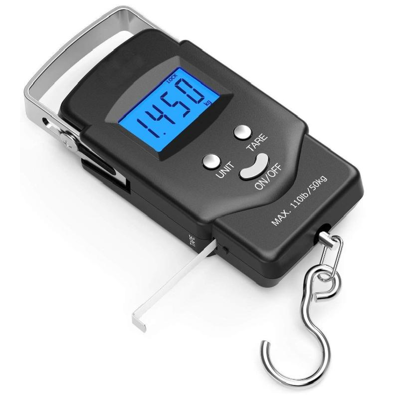 OutdoorCapitol™ Electronic Balance Digital Fishing Postal Hanging Hook Scale with Measuring Tape