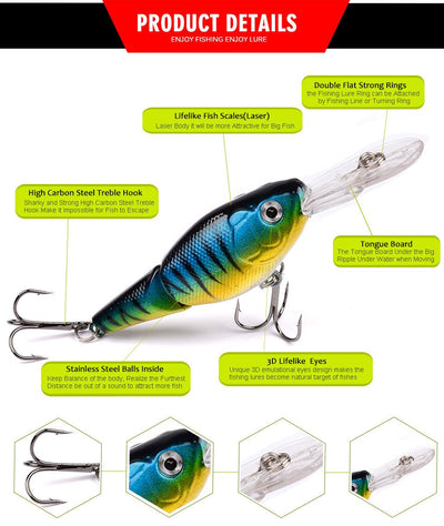 OutdoorCapitol™ Premium 2 Sections Bass Baits Pack [5PCS]
