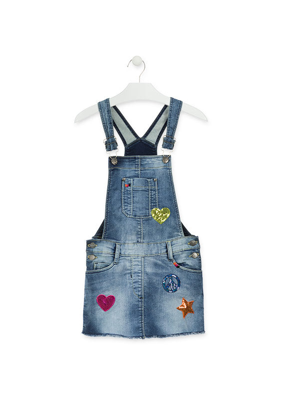 Robe salopette en denim 914-7001