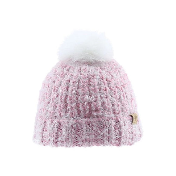 tuque rose à pompon blanc bedford road
